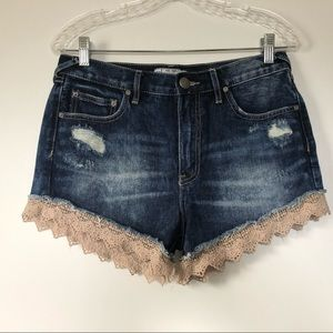 Free People Size 27 Denim Shorts Crochet Lace Boho